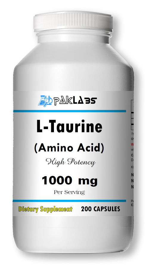 L-Taurine Amino Acid 1000mg Per Serving 200 Capsules Big Bottle USA Shipping PL