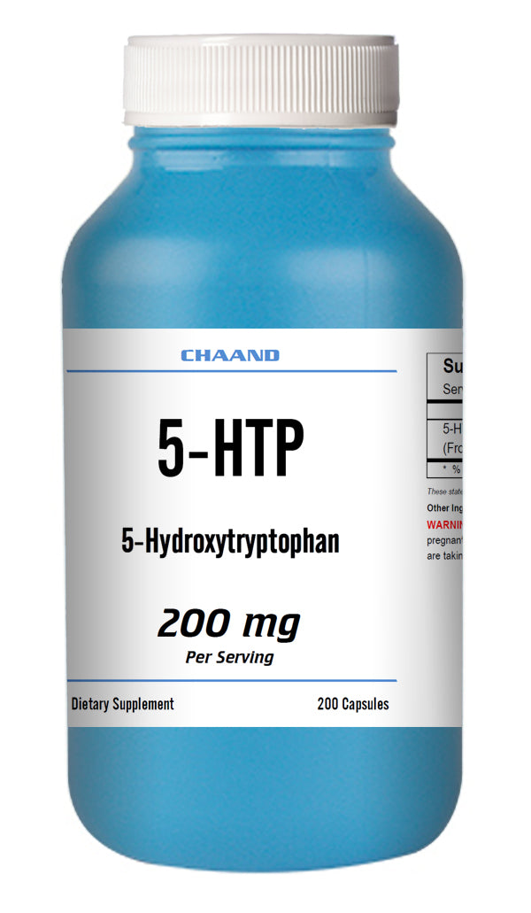 5-HTP 200mg Huge Bottle 200 Capsules Weight Management Mood Serotonin Gluten FREE Non GMO CH