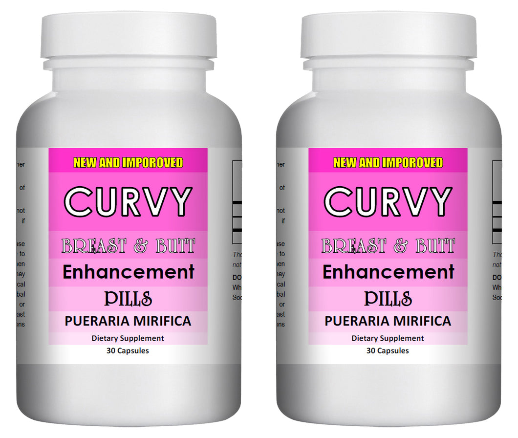 CURVY - Breast and Butt Enhancement Pills - 30 Pills Bottle 1000mg Per Serving (2 Bottles)