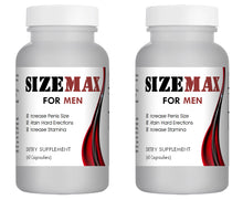 Load image into Gallery viewer, SizeMAX Effective Male Enhancement to increase penis size, hardness, stamina 120 Pills 2x Bottles