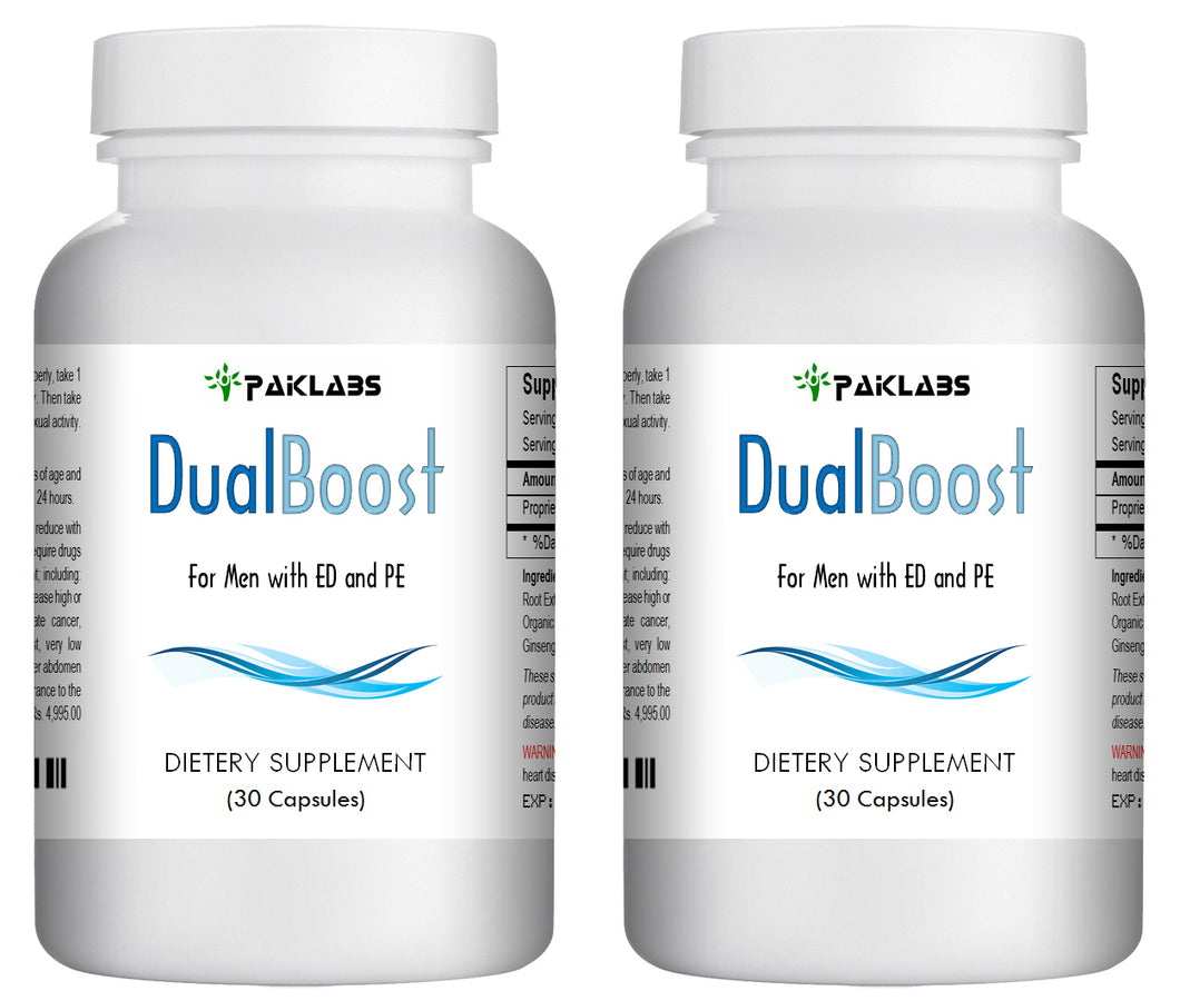 DUAL BOOST - SEX PILLS FOR MEN - SPECIAL DOUBLE FORMULA - NATURAL DIETARY SUPPLEMENT 60 Pills 2x Bottles