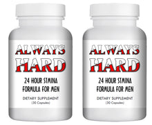 Load image into Gallery viewer, ALWAYS HARD - SEX PILLS FOR MEN - BE READY 24x7 - NATURAL DIETARY SUPPLEMENT 60 Pills, 2x Bottles