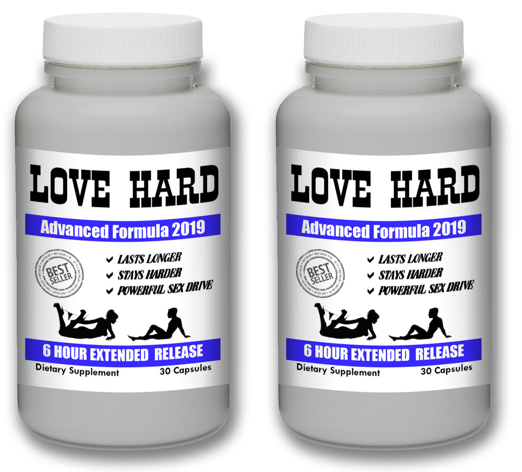 LOVE HARD - Male Enhancement Sex Pills Best Sexual Supplement Enhancer Live Men 60 Pills 2 Bottles