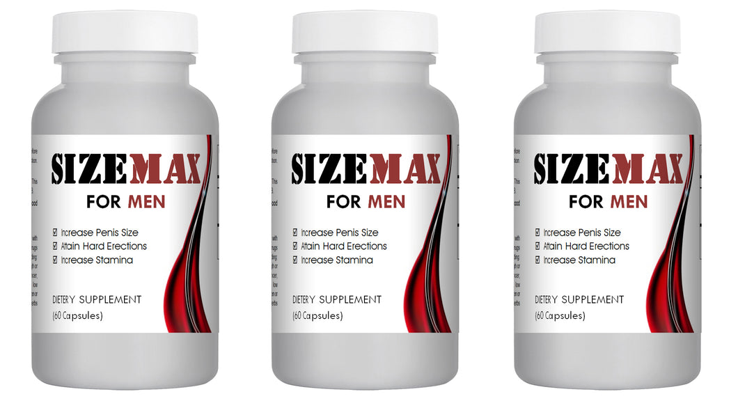 SizeMAX Effective Male Enhancement to increase penis size, hardness, stamina 180 Pills 3x Bottles