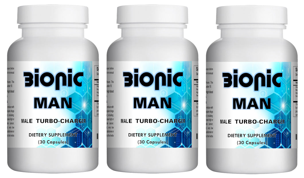 BIONIC MAN - SEX PILLS FOR MEN - INCREASE ENERGY AND STAMINA - NATURAL DIETARY SUPPLEMENT 90 Pills 3 Bottles