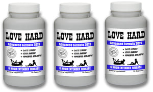 LOVE HARD - Male Enhancement Sex Pills Best Sexual Supplement Enhancer Live Men 90 Pills 3 Bottles