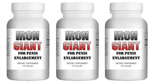 Load image into Gallery viewer, Iron Giant - MALE PENIS ENLARGEMENT PILLS LONGER BIGGER GROWTH 1-3 INCHES 120 DAYS - 3x Bottles