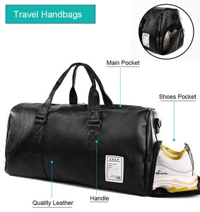 Leather Unisex Men Women BAG Sports Yoga Fitness Travel Luggage Shoulder Hand Strap