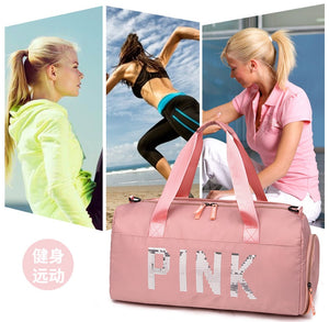 PINK, BLACK, GREY Waterproof Women Gym Bag Fitness Yoga Sports Bag for Shoe Storage Travel Duffel Luggage
