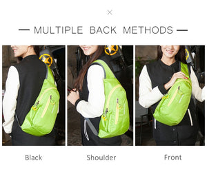Unisex Waterproof Nylon Chest Bag Men Women Running Shoulder Bag Diagonal Outdoor Sports Gym