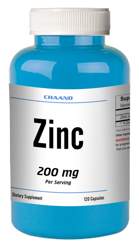 Zinc Citrate 200mg 120 Capsules MAX BOOST IMMUNITY Capsules High Potency CHAND