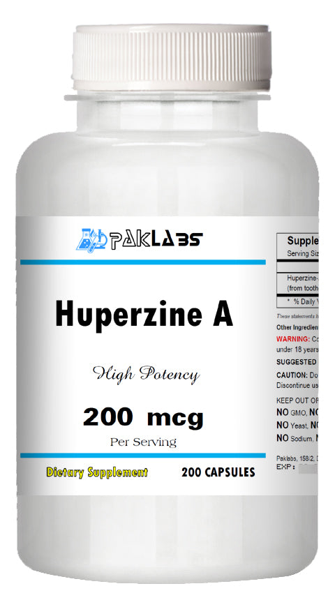 Huperzine A Capsules Enhances Memory 200mcg HIGH POTENCY 200 Capsules Big Bottle PL
