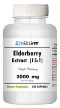 Load image into Gallery viewer, Elderberry Extract 15:1 High Potency 15 times Stronger 3000mg 200 CAPSULES PL