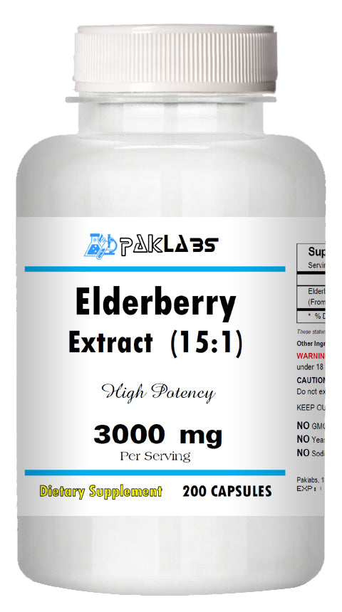 Elderberry Extract 15:1 High Potency 15 times Stronger 3000mg 200 CAPSULES PL