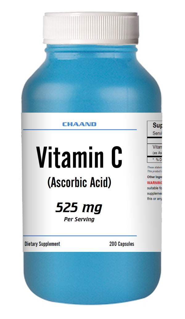 Vitamin-C Ascorbic Acid 525mg Serving Immune Support HIGH POTENCY 200 Capsules USA SHIP