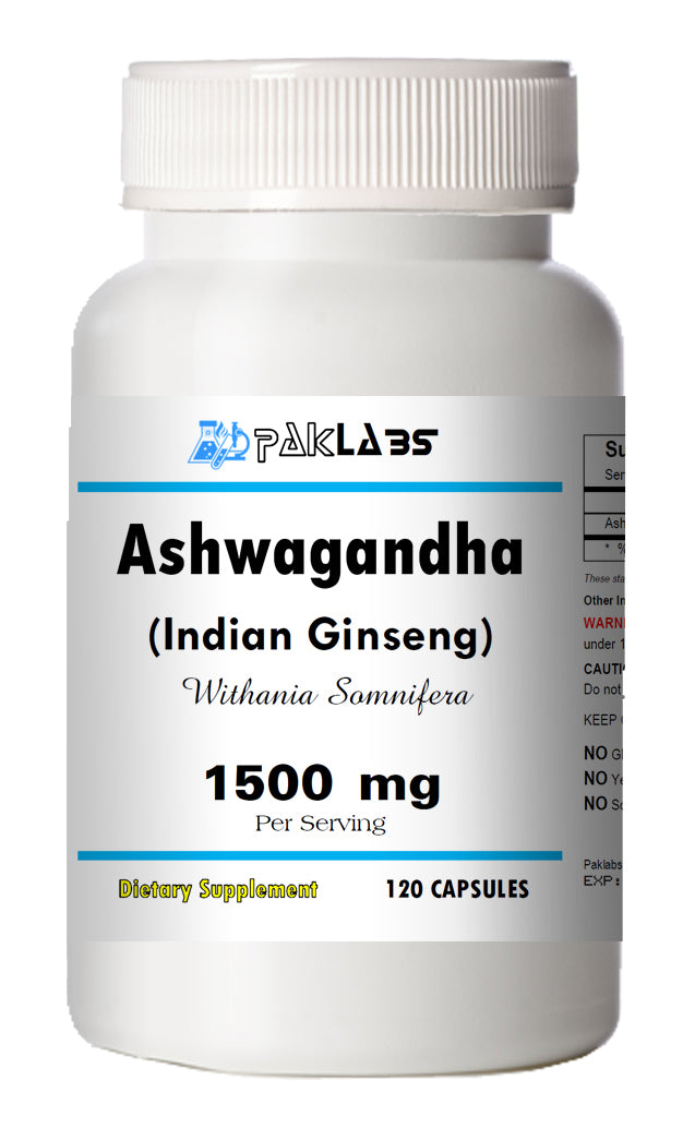 Ashwagandha Indian Ginseng 1500mg High Potency Big Bottle 120 Capsules PL