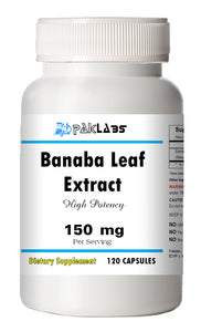 Banaba Leaves Extract 150mg High Potency Big Bottle 120 Capsules PL