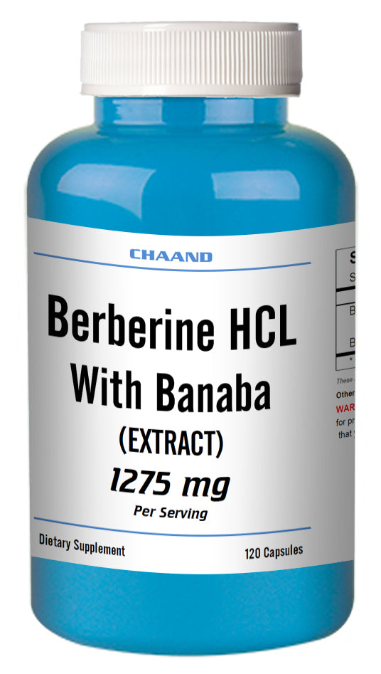 Berberine with Banaba Extract 1275mg Serving Big Bottle 120 Capsules CH