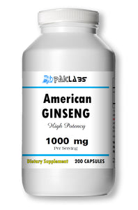 American GINSENG 1000mg 1000 mg High Potency Big Bottle 200 Capsules PL