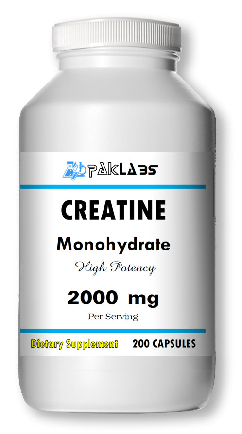Creatine Monohydrate 2000mg Serving High Potency Big Bottle 200 Capsules PL