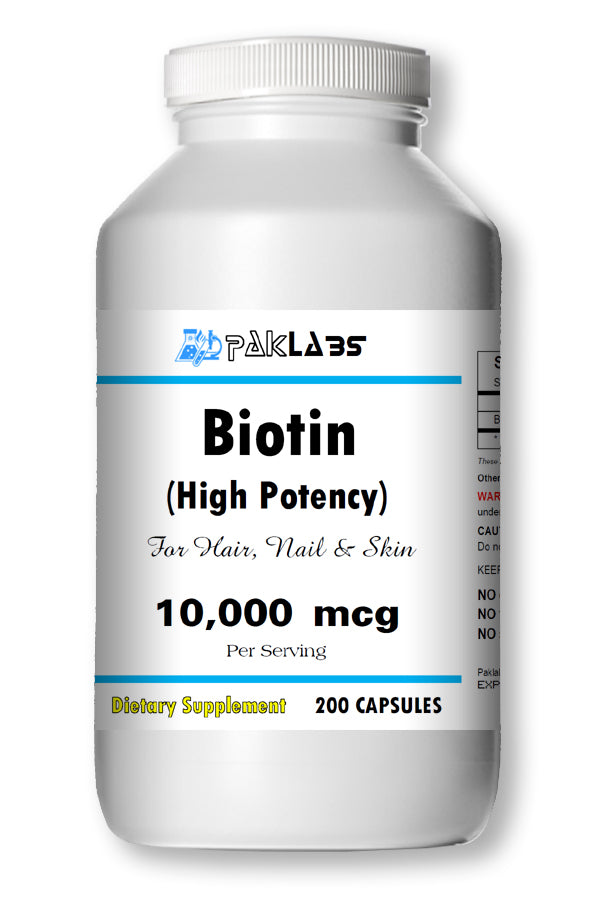 Biotin for Hair Nail and Skin High Potency 10,000mcg High Potency Big Bottle 200 Capsules PL
