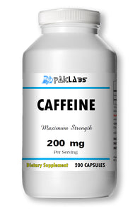 Caffeine High Potency 200mg High Potency Big Bottle 200 Capsules PL