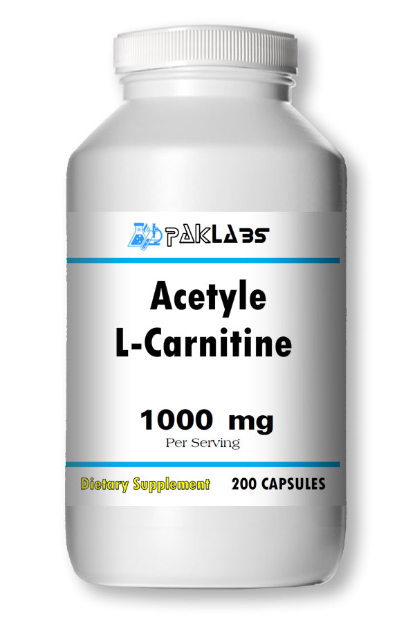 Acetyle L-Carnitine 1000mg High Potency 200 Capsules Big Bottle 1000 mg PL