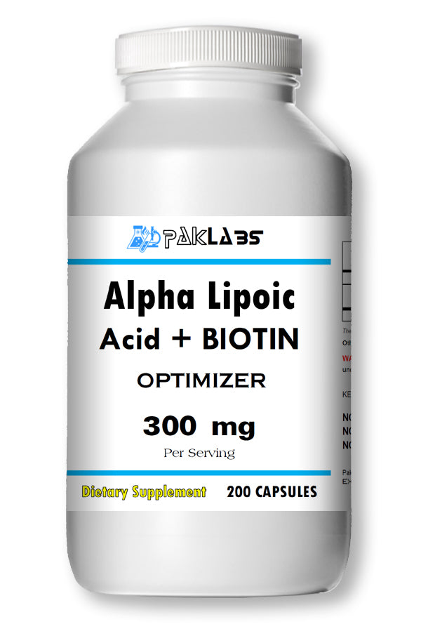 Alpha Lipoic Acid+Biotin Optimizer Complex 300mg Serving Big Bottle 200 Capsules PL