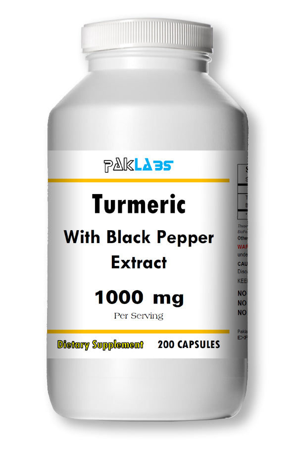 Turmeric With Black Pepper Extract 1000mg Serving High Potency 200 Capsules Pill PL