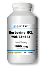 Load image into Gallery viewer, Berberine with Banaba Extract 1000mg Diabetes,Depression,Cholesterol,Heart Big Bottle 200 Capsules PL