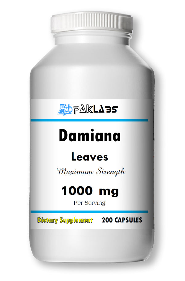 Damiana Leaves 1000mg Serving High Potency Big Bottle 200 Capsules PL