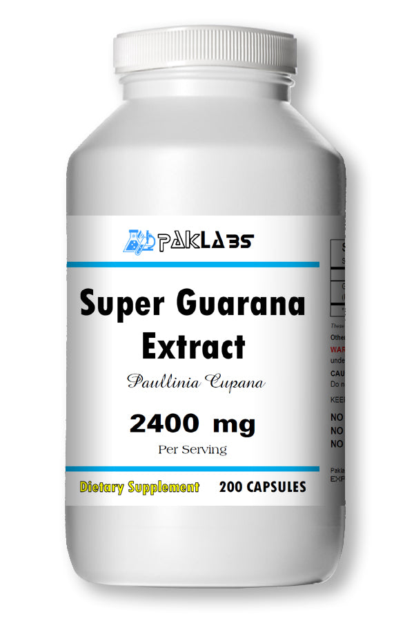 Guarana (SUPER) 2400mg High Potency Energy Natural Caffeine 22% 200 Capsules PL