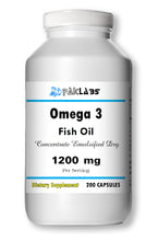 Load image into Gallery viewer, Fish Oil 1200 mg, EPA, DHA OMEGA-3 High Potency Big Bottle 200 Capsules PL
