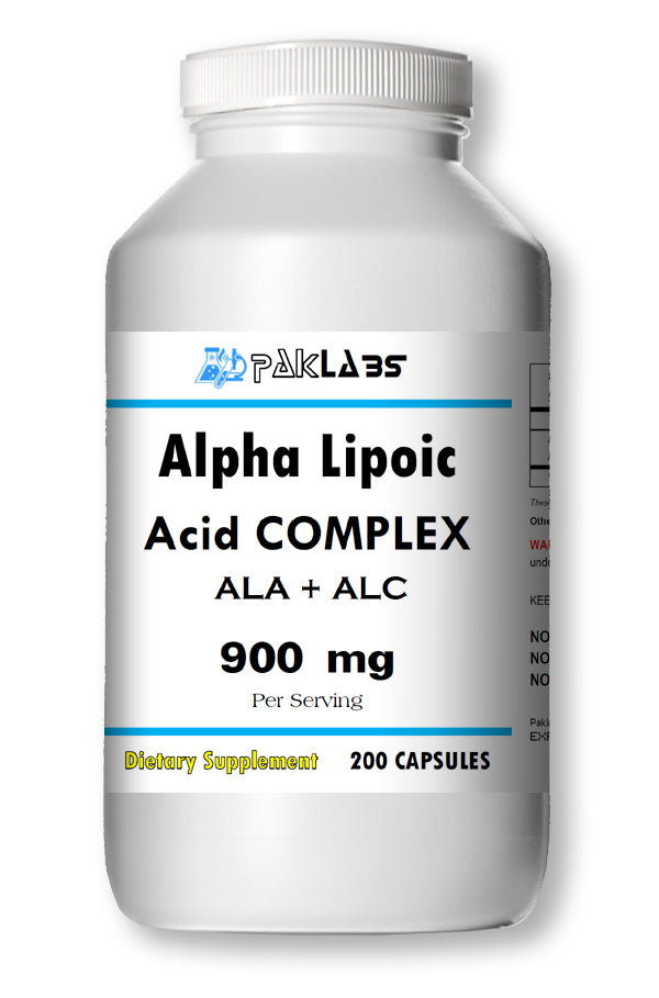 ALA+ALC Alpha Lipoic Acid Acetyle L-Carnitine Complex 900mg Serving Huge Bottle 200 Capsules PL