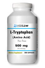 Load image into Gallery viewer, L-Tryptophan Amino Acid 500mg, 200 Capsules Big Bottle USA Shipping PL