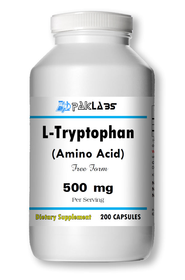 L-Tryptophan Amino Acid 500mg, 200 Capsules Big Bottle USA Shipping PL