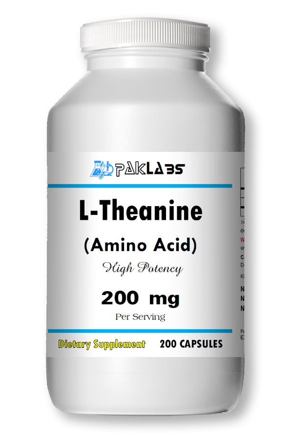 L-Theanine 200mg, 200 Capsules - Stress Relief Double Strength PL