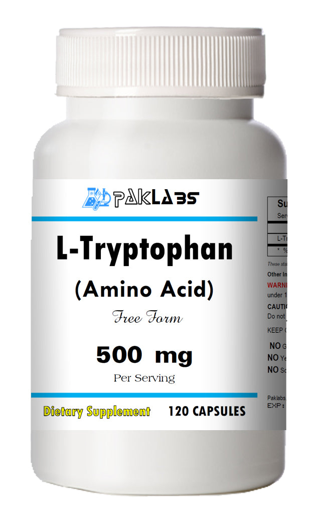 L-Tryptophan Amino Acid 500mg, 120 Capsules Big Bottle USA Shipping PL