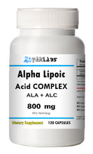 Load image into Gallery viewer, ALA+ALC Alpha Lipoic Acid Acetyle L-Carnitine Complex 800mg Serving Big Bottle 120 Capsules PL