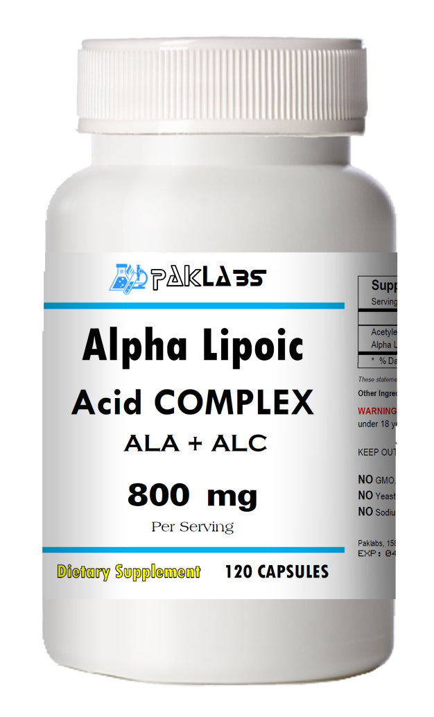 ALA+ALC Alpha Lipoic Acid Acetyle L-Carnitine Complex 800mg Serving Big Bottle 120 Capsules PL
