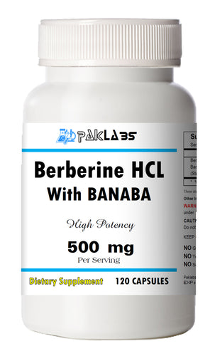 Berberine with Banaba Extract 500mg Diabetes,Depression,Cholesterol,Heart Big Bottle 120 Capsules PL