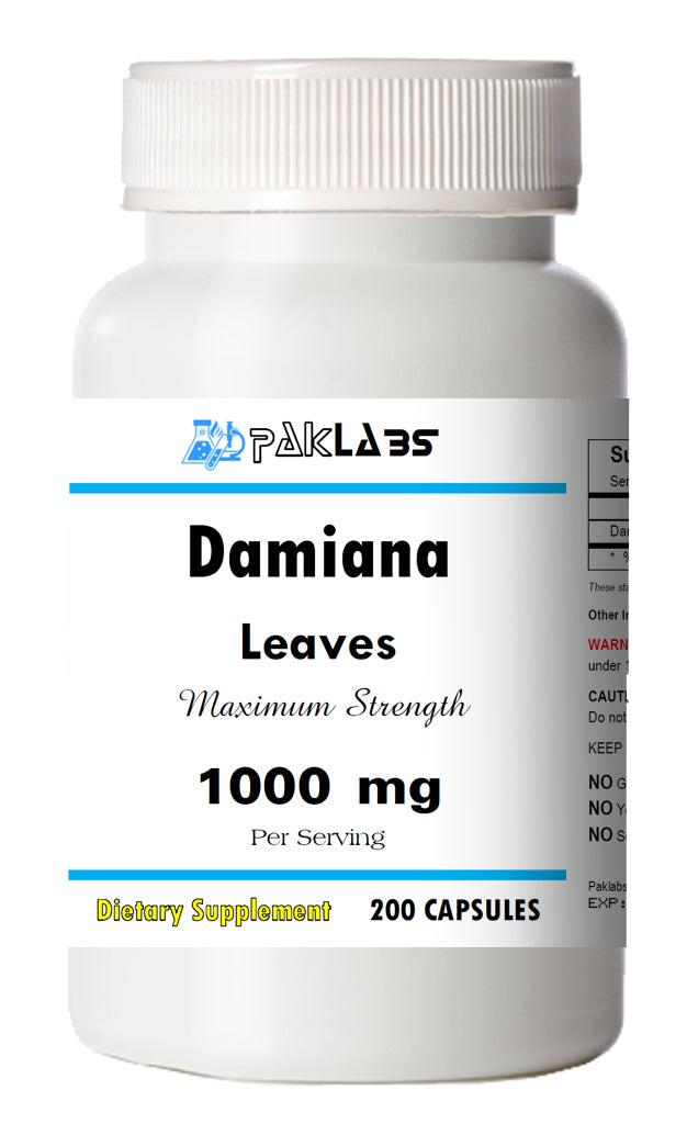 Damiana Leaves 1000mg Serving High Potency Big Bottle 120 Capsules PL