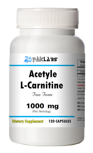 Acetyle L-Carnitine 1000mg High Potency 120 Capsules Big Bottle 1000 mg PL