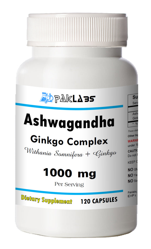 Ashwagandha with Ginkgo Biloba Indian Ginseng 1000mg High Potency Big Bottle 120 Capsules PL