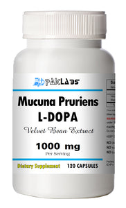 Mucuna Pruriens 1000mg Natural L-DOPA 15% BEST DEAL 120 Capsules Velvet Bean PL