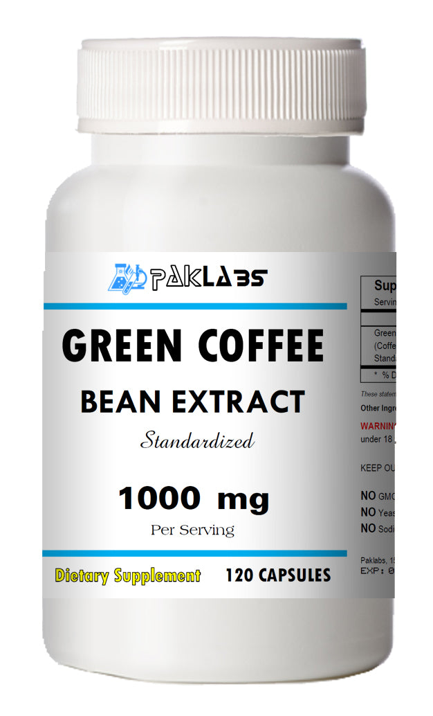 Green Coffee Bean Extract Chlorogenic Acid 1000mg Weight Loss 120 Capsules PL
