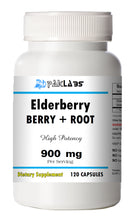 Load image into Gallery viewer, Elderberry Berry + Root 900mg Serving High Potency Big Bottle 120 Capsules PL