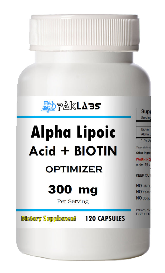 Alpha Lipoic Acid+Biotin Optimizer Complex 300mg Serving Big Bottle 120 Capsules PL
