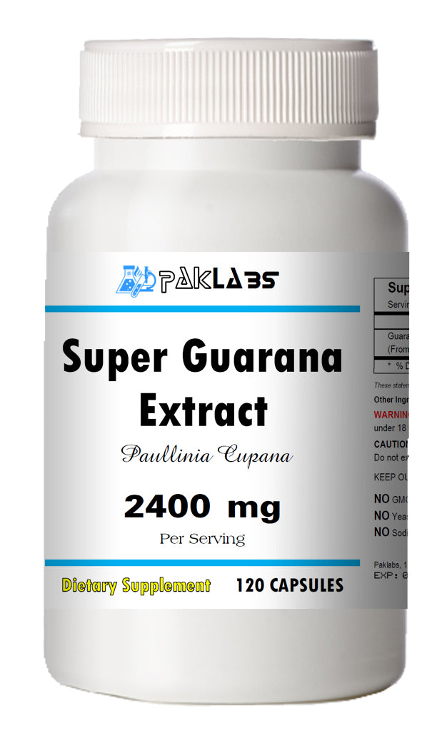 Guarana (SUPER) 2400mg High Potency Energy Natural Caffeine 22% 120 Capsules PL
