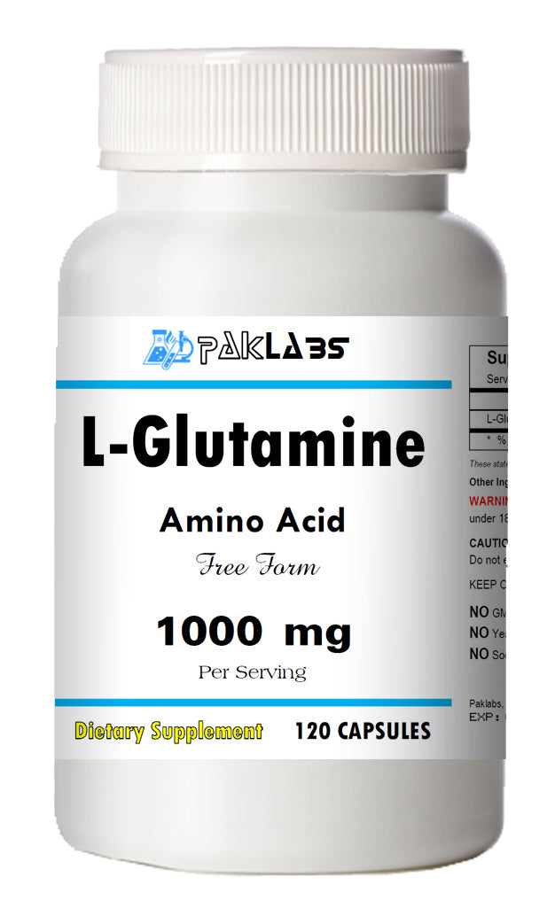 L-Glutamine 120 Capsules Pro Performance 1000mg High Potency Big Bottle 1000 mg PL